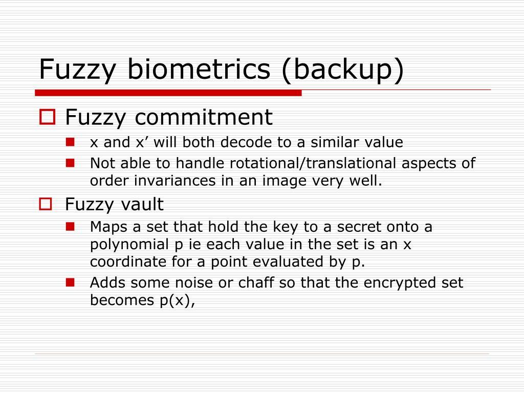 Fuzzy biometrics (backup)