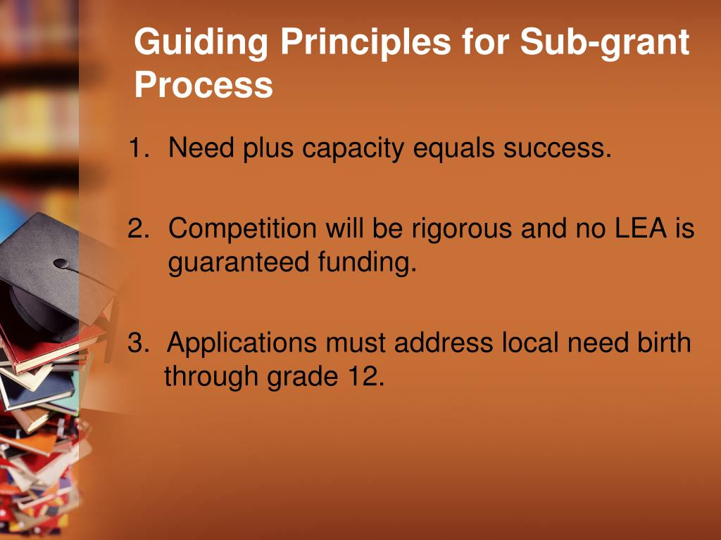 Guiding Principles for Sub-grant Process