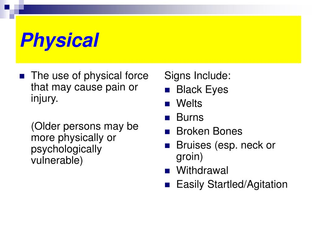 The use of physical force that may cause pain or injury.