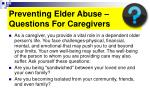 preventing elder abuse questions for caregivers