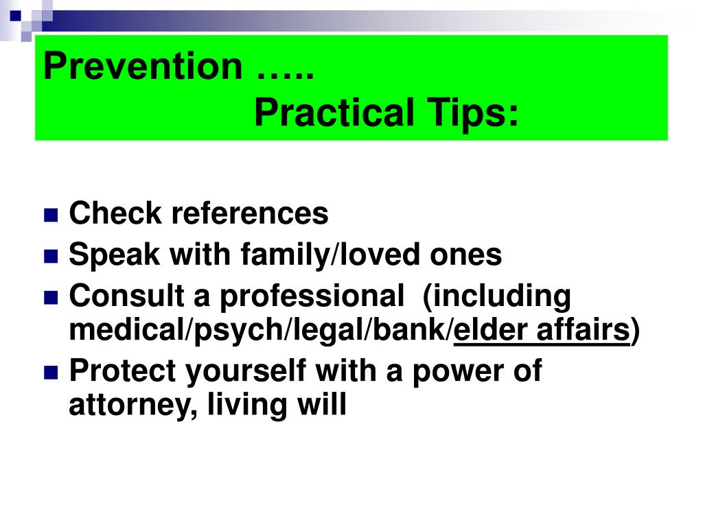 Prevention …..