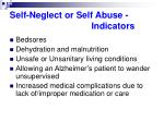 self neglect or self abuse indicators