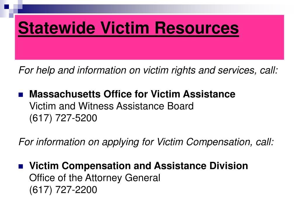 Statewide Victim Resources