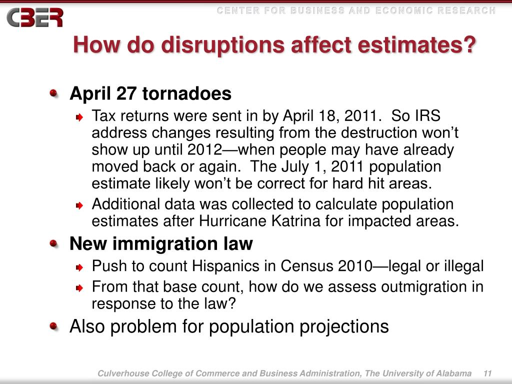 How do disruptions affect estimates?