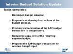 interim budget solution update