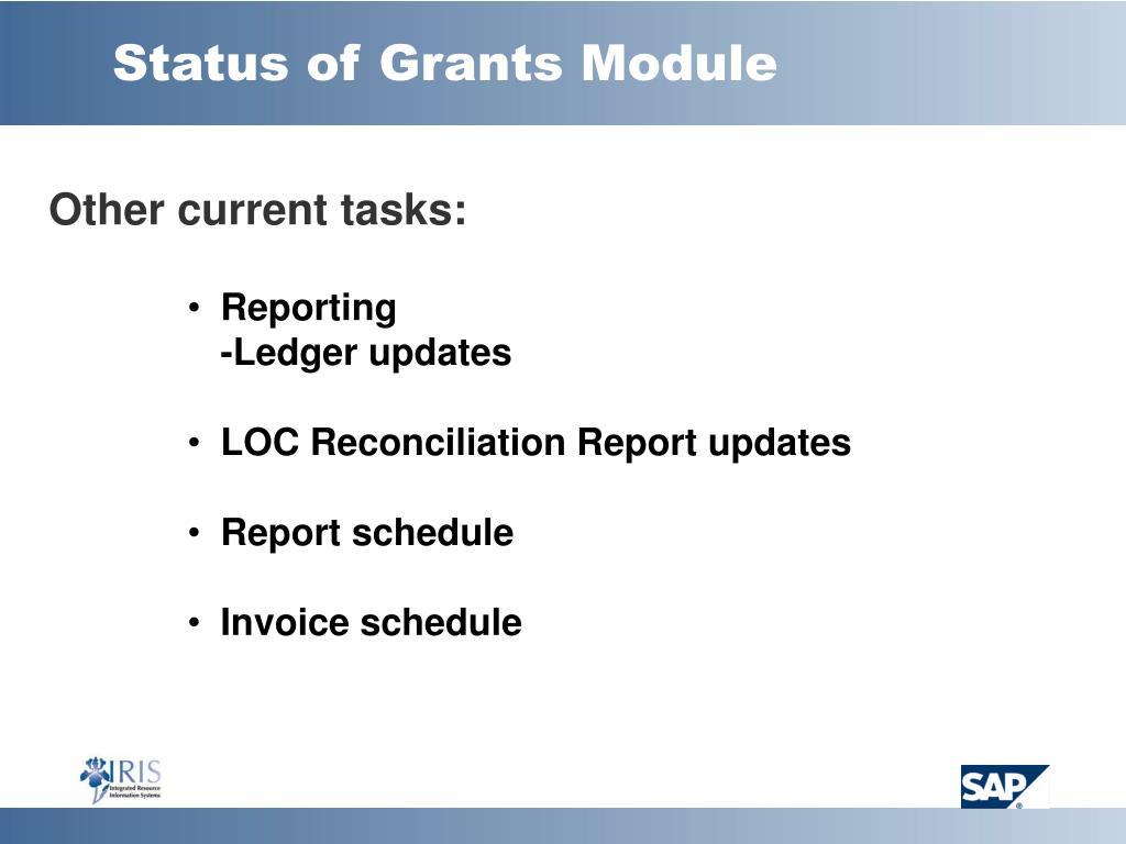 Status of Grants Module