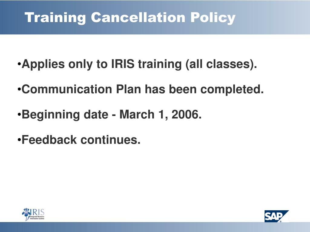 Training Cancellation Policy