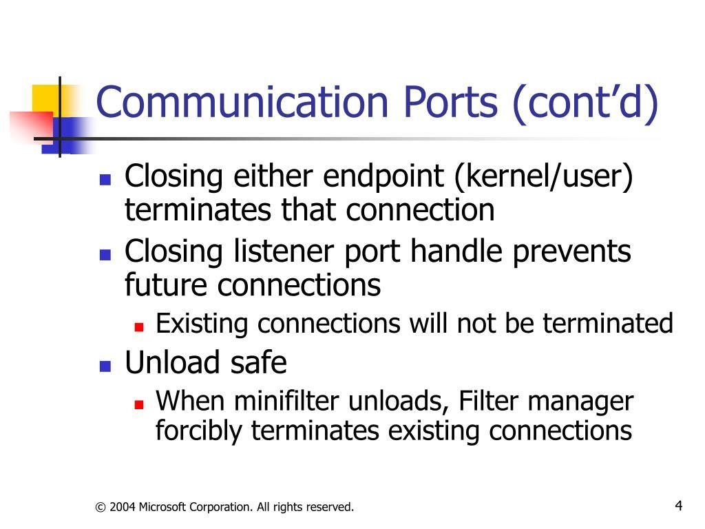 Communication Ports (cont'd)