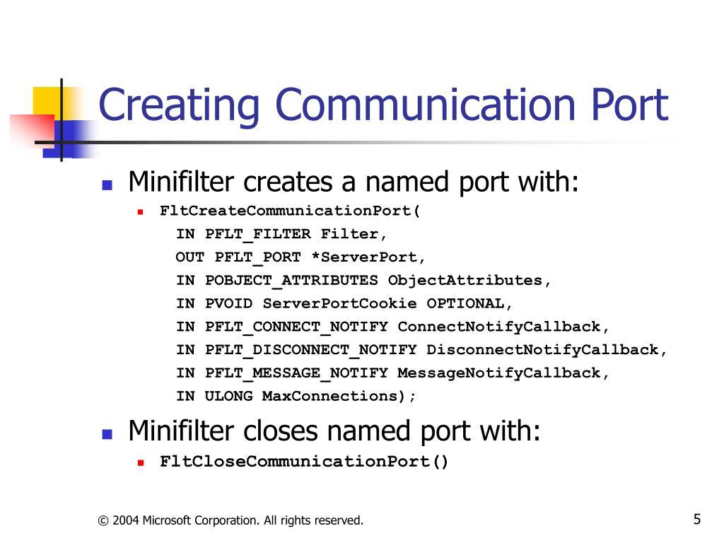 Creating Communication Port