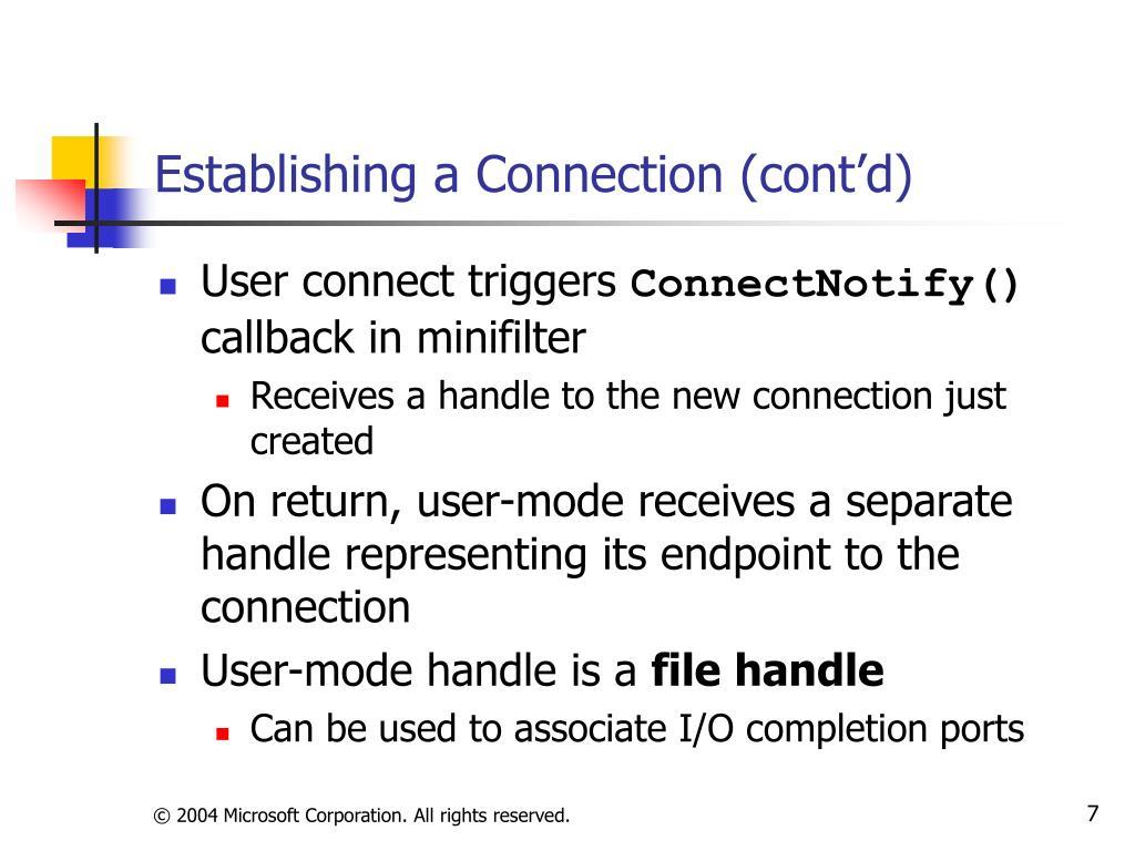 Establishing a Connection (cont'd)