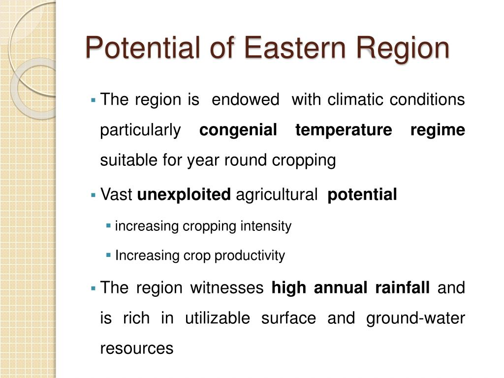 Potential of Eastern Region