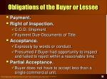 obligations of the buyer or lessee