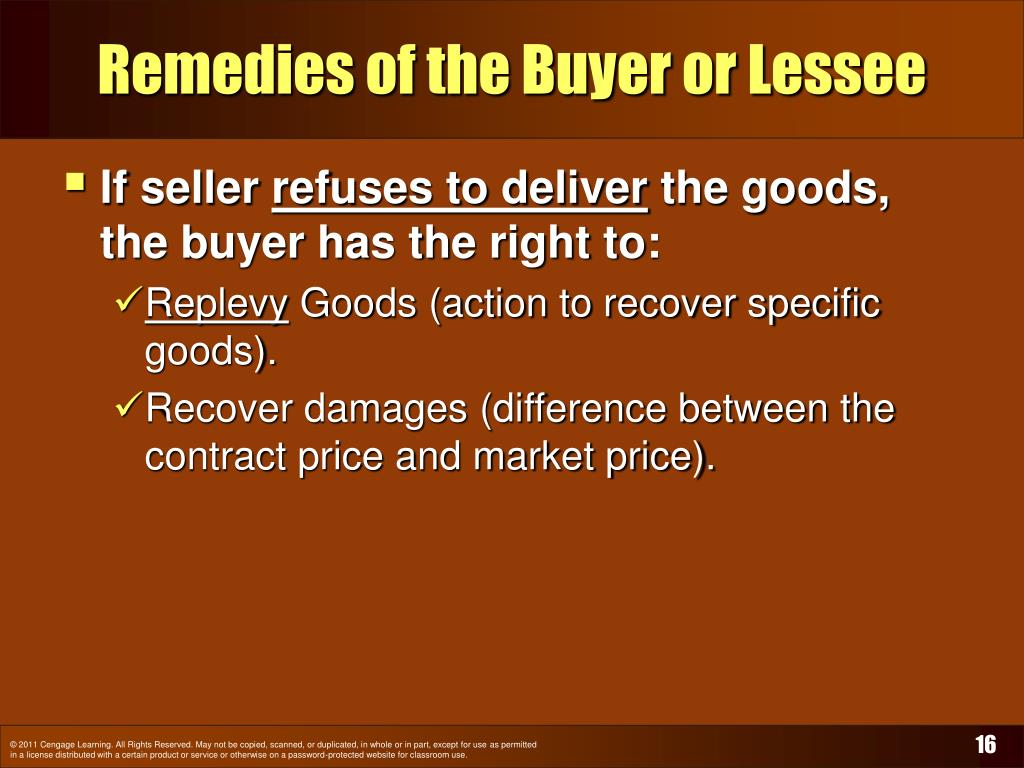 Remedies of the Buyer or Lessee