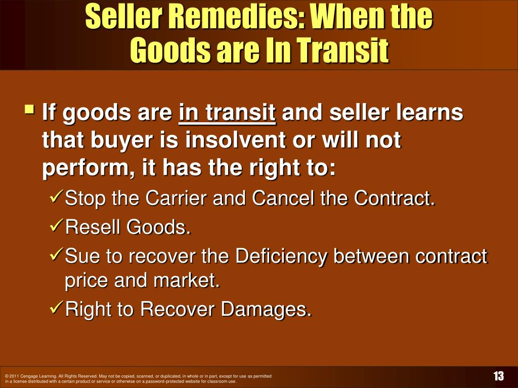 Seller Remedies: When the