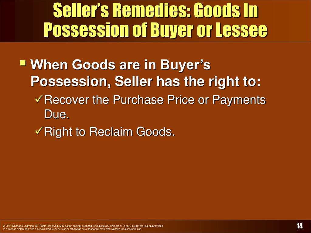 Seller's Remedies: Goods In