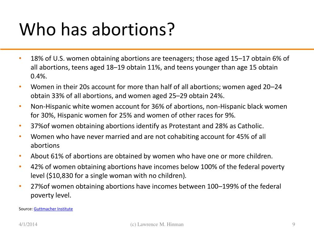 Who has abortions?