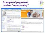 example of page level content repurposing