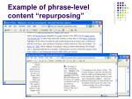 example of phrase level content repurposing