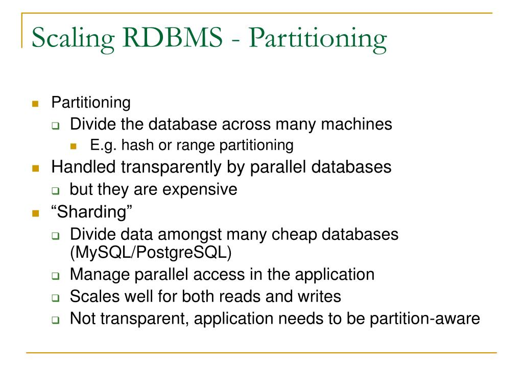 Scaling RDBMS - Partitioning