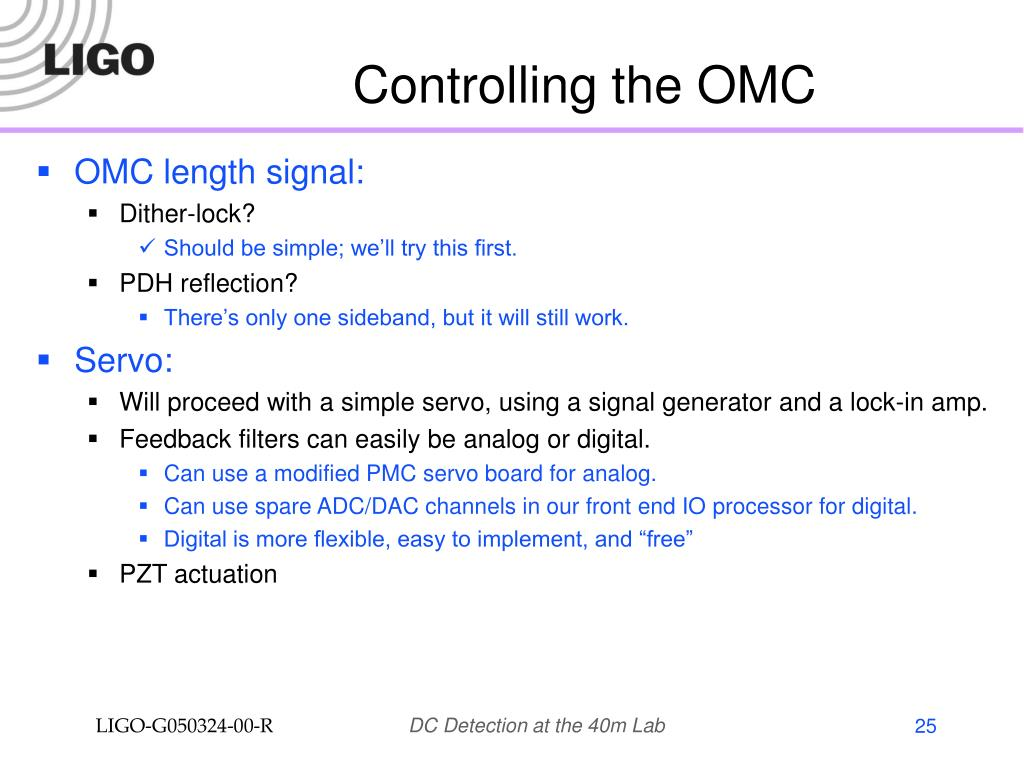 Controlling the OMC
