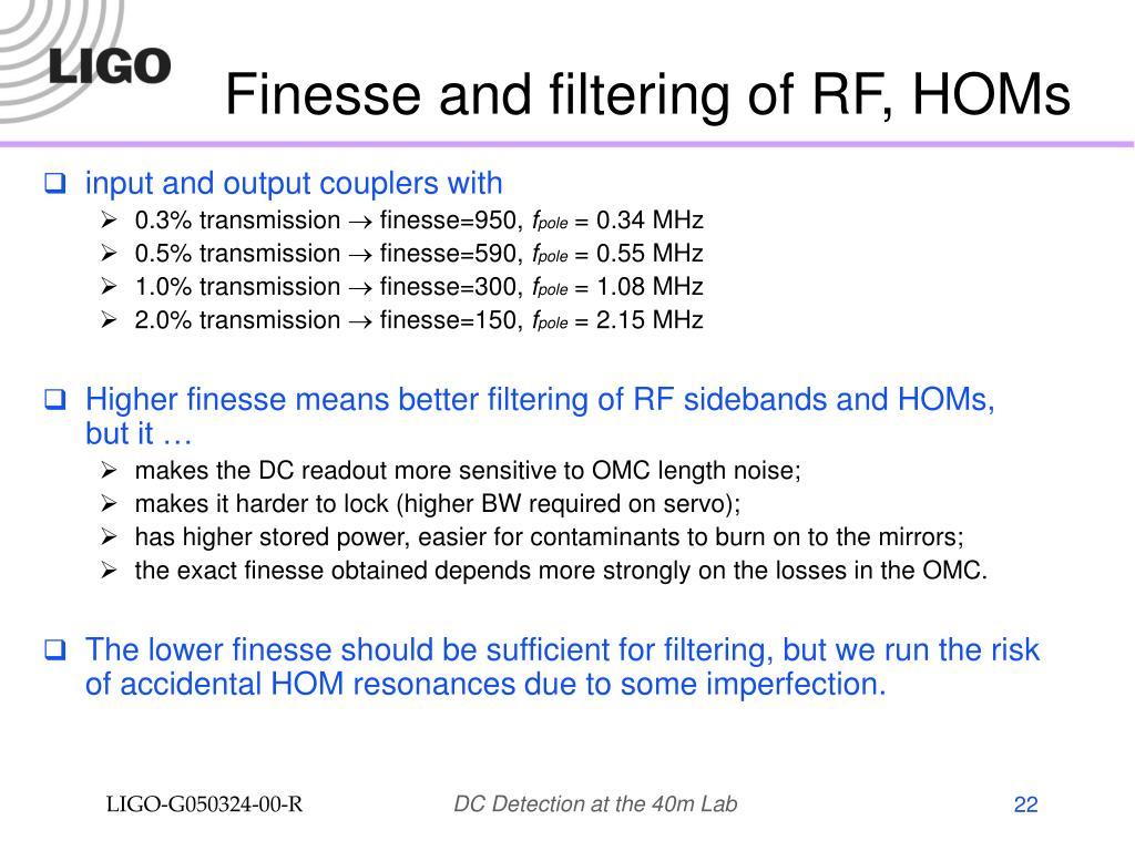 Finesse and filtering of RF, HOMs