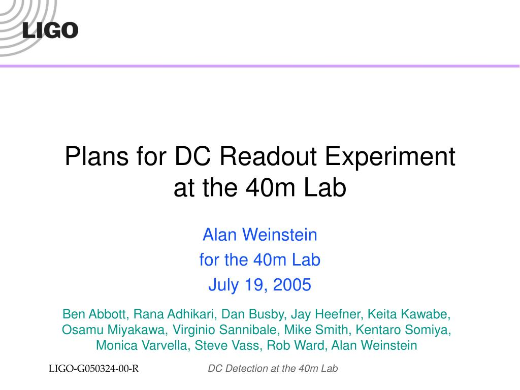 Plans for DC Readout Experiment
