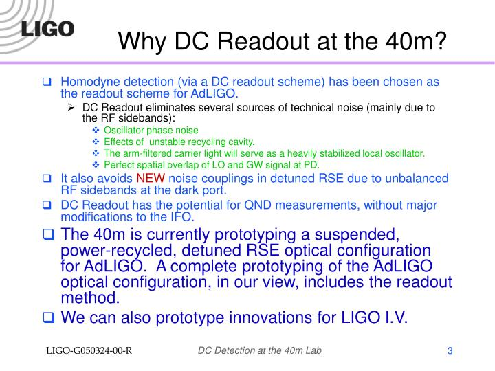 Why dc readout at the 40m