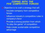 coping with the five competitive forces32