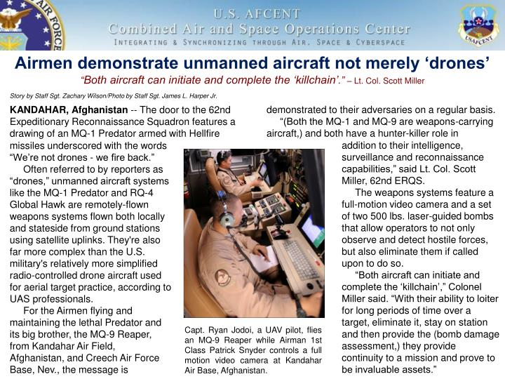 Airmen demonstrate unmanned aircraft not merely drones