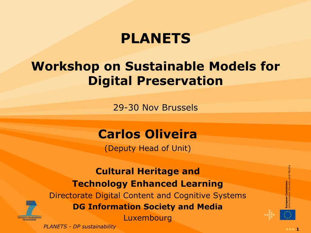 planets workshop on sustainable models for digital preservation 29 30 nov brussels