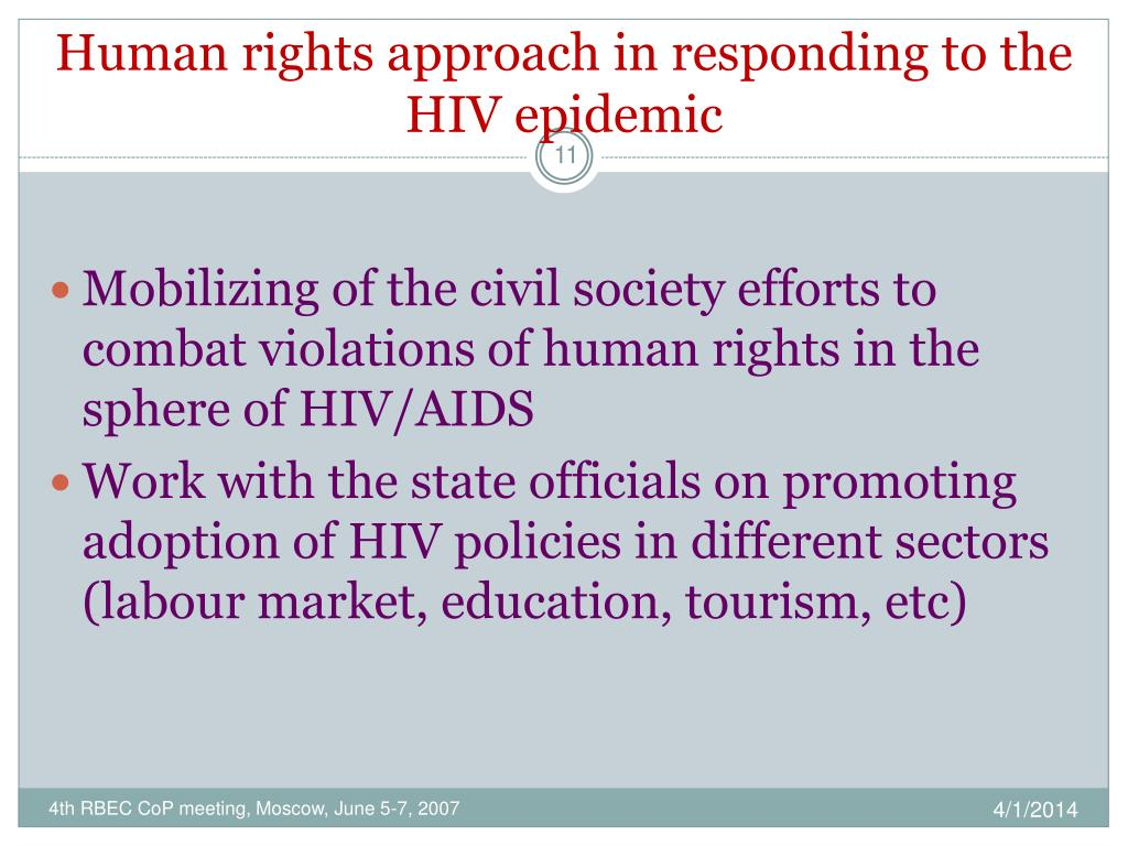 Human rights approach in responding to the HIV epidemic