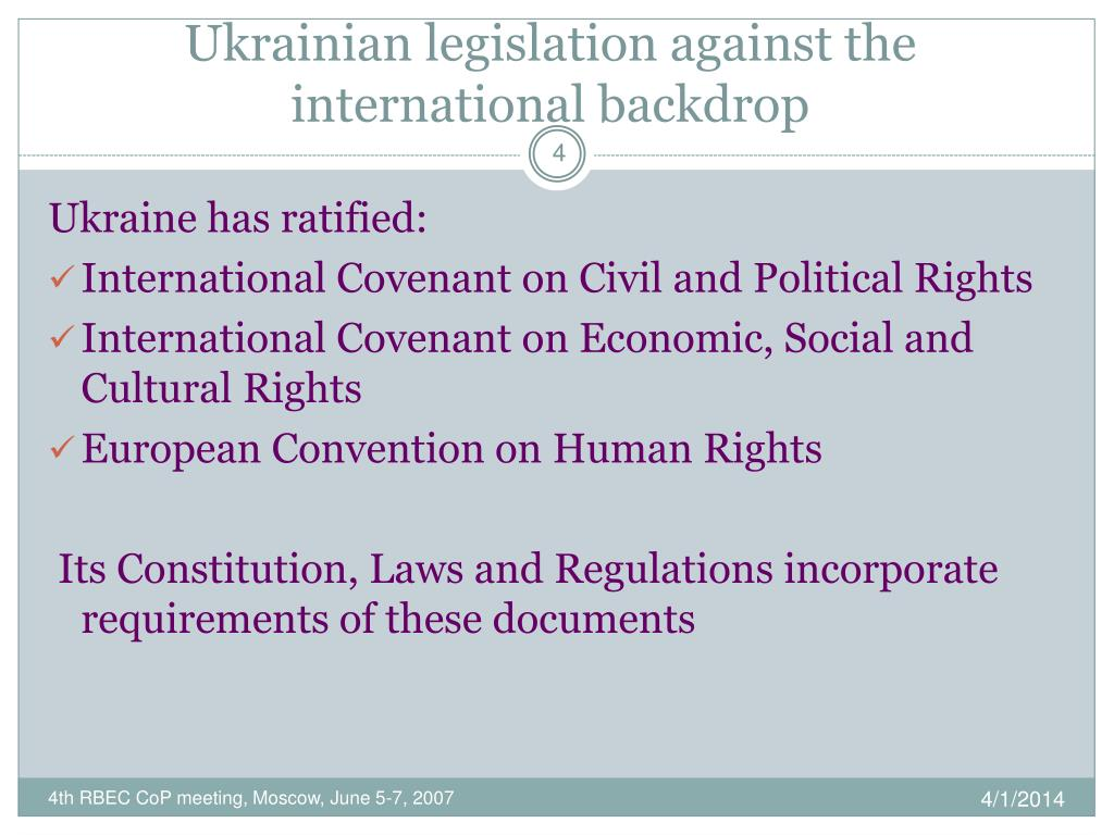 Ukrainian legislation against the international backdrop