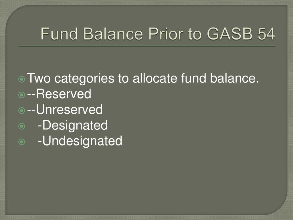 Fund Balance Prior to GASB 54