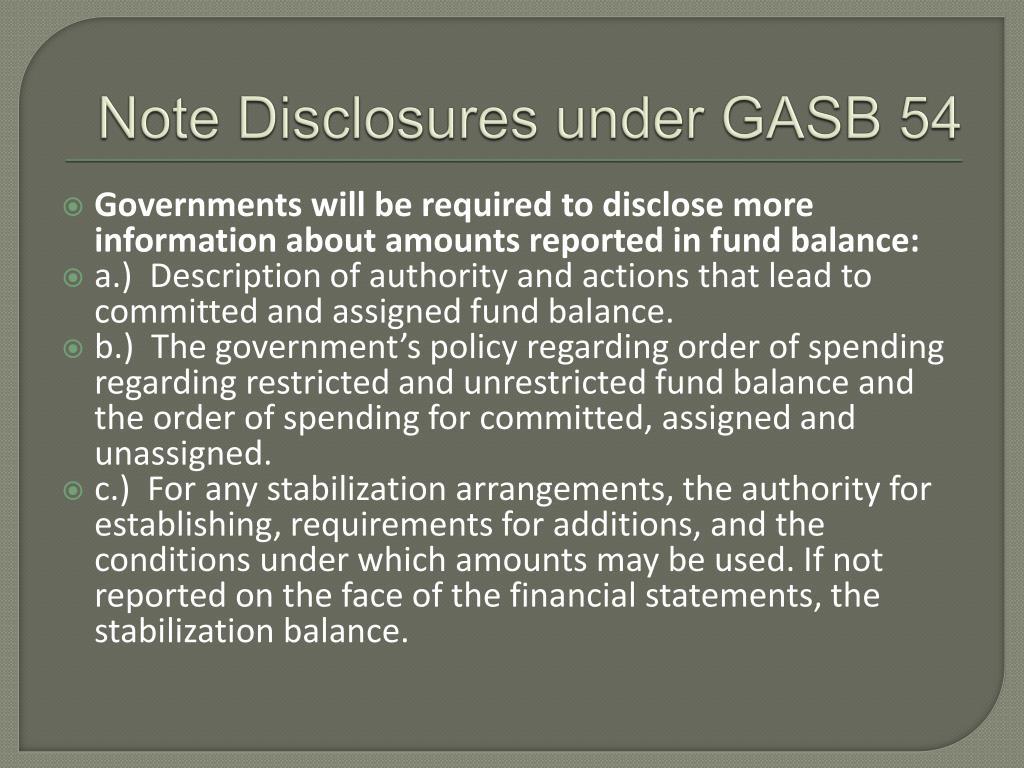 Note Disclosures under GASB 54
