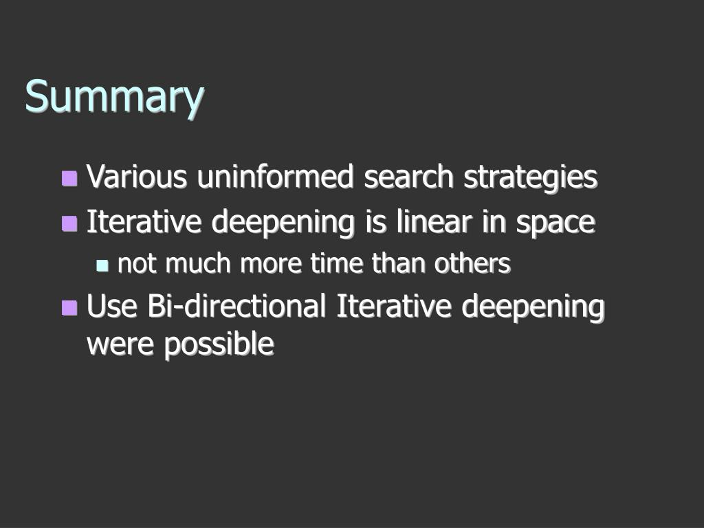 Various uninformed search strategies