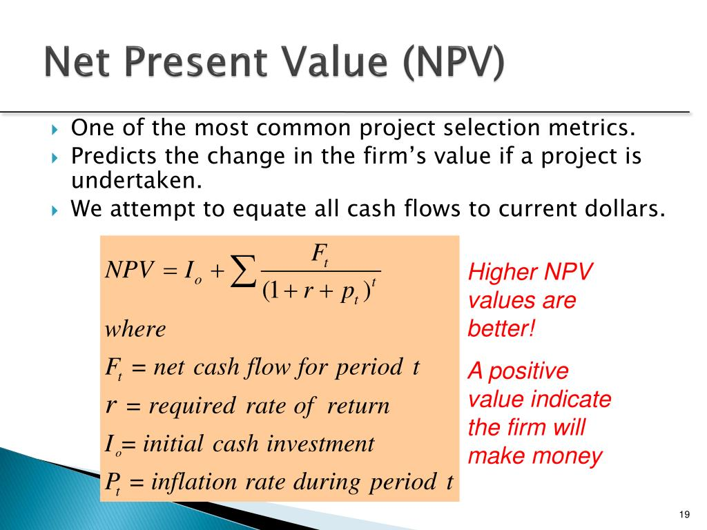 caledonia net present value A by analyzing alternate projects b by evaluating the net present value npv of from finance 257 at college of new caledonia.
