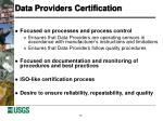 data providers certification