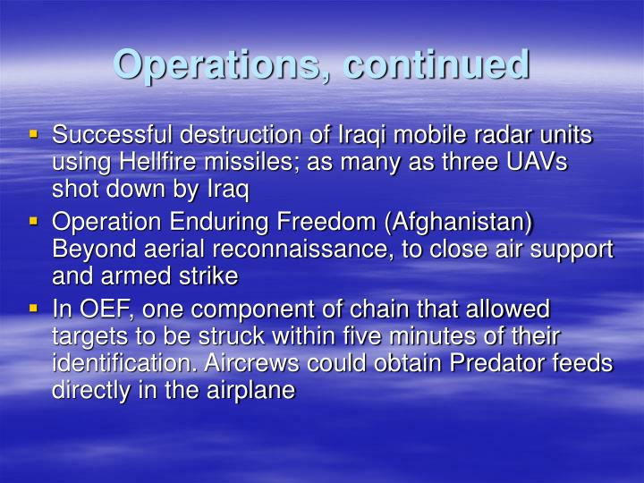 Operations, continued