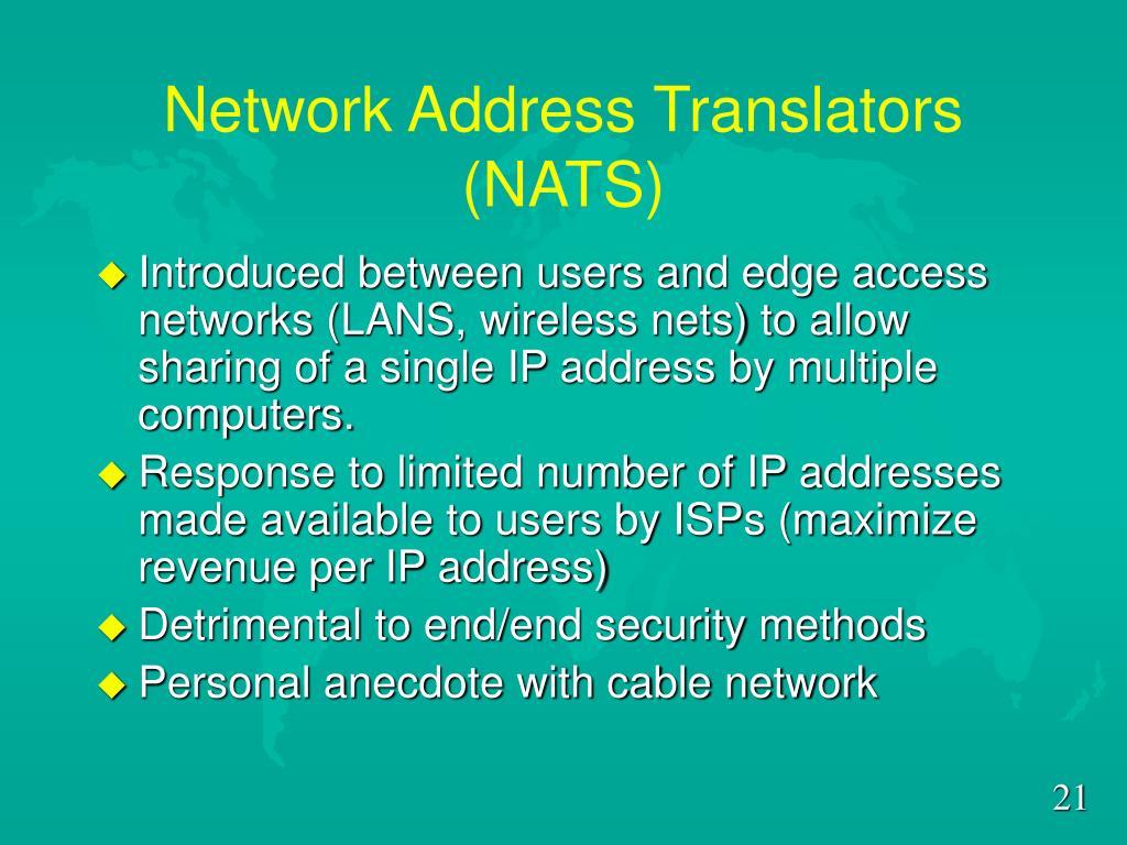 Network Address Translators (NATS)