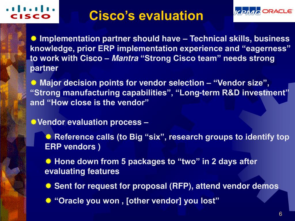 Cisco's evaluation