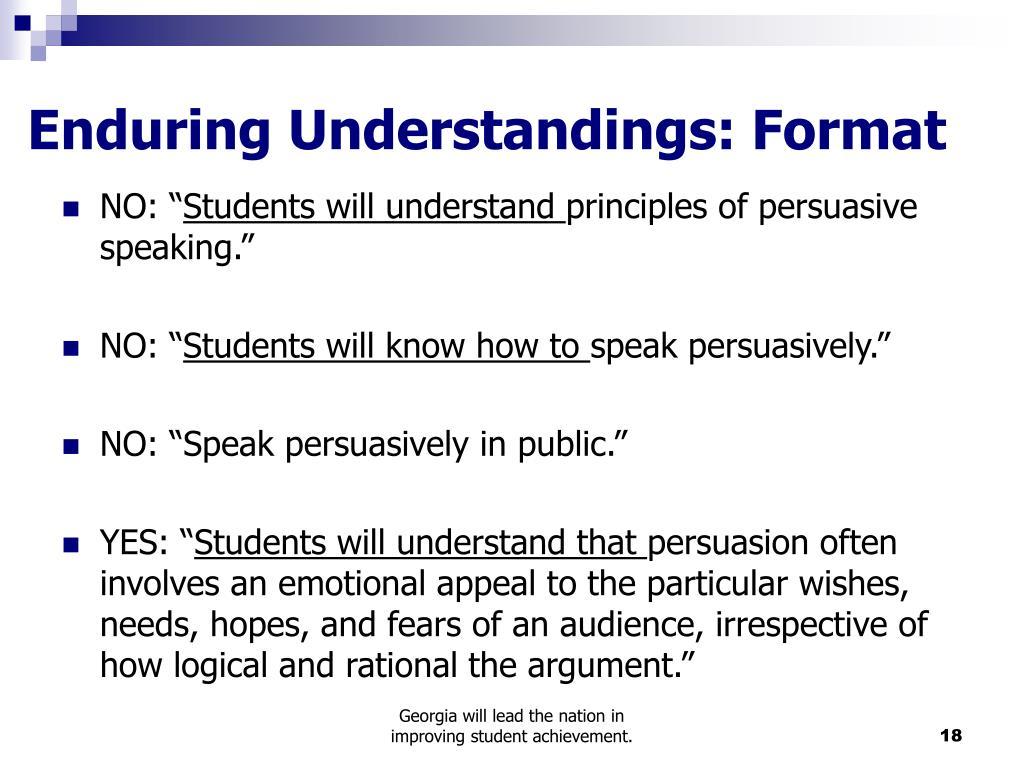 Enduring Understandings: Format