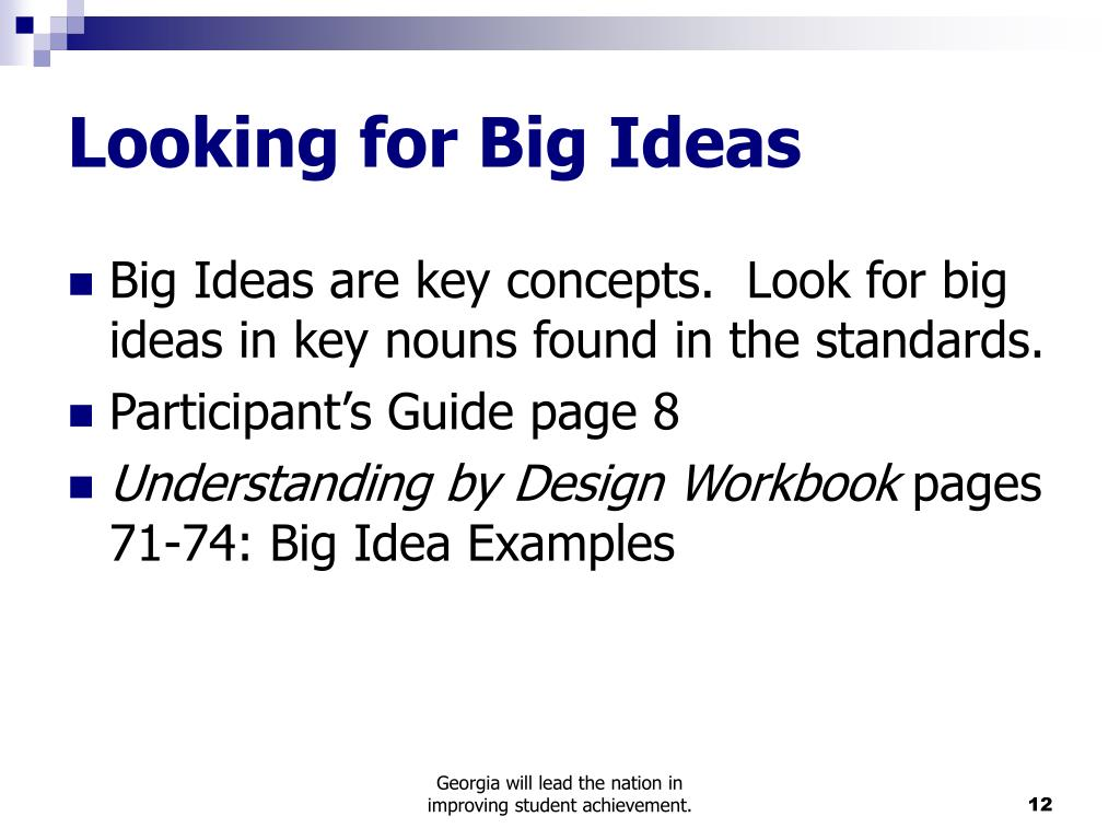 Looking for Big Ideas