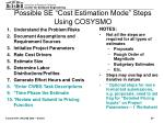 possible se cost estimation mode steps using cosysmo