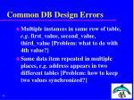 common db design errors