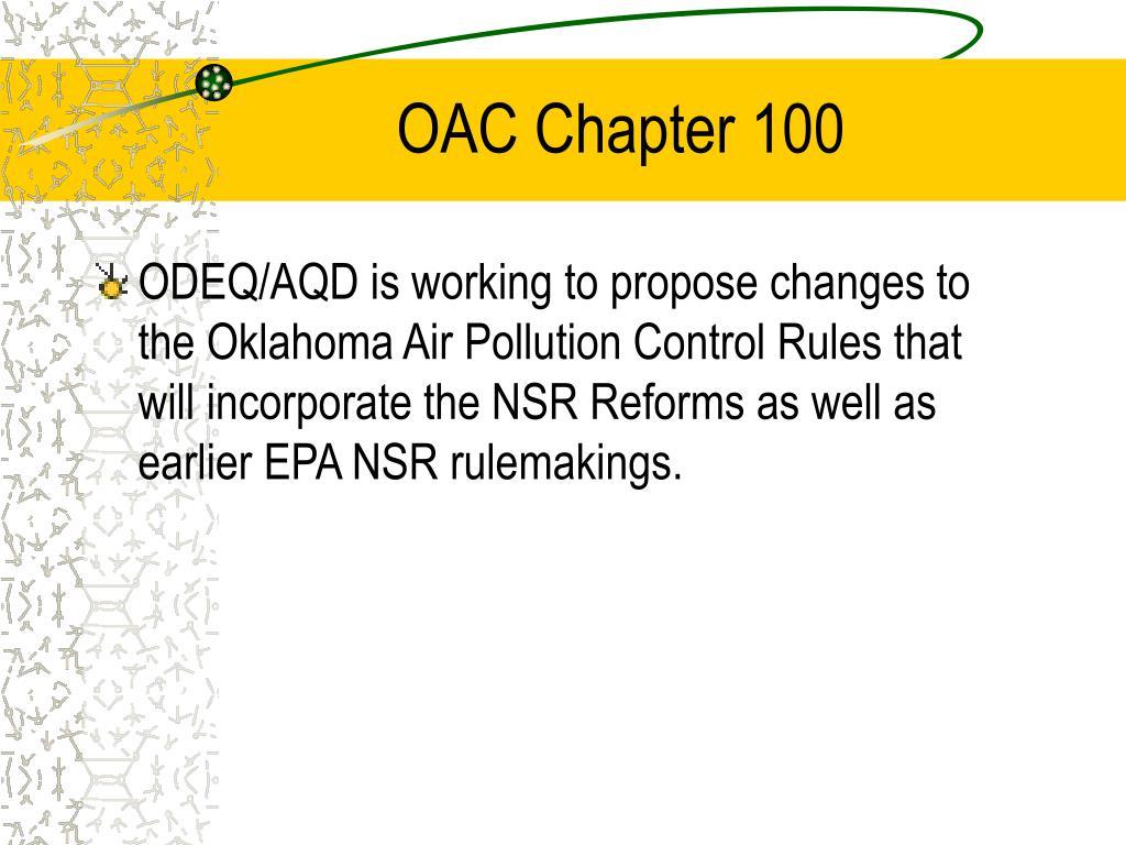 OAC Chapter 100