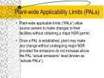 plant wide applicability limits pals