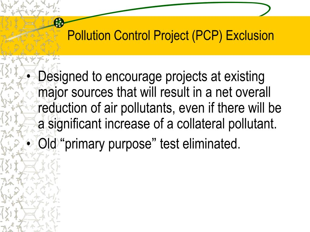 Pollution Control Project (PCP) Exclusion