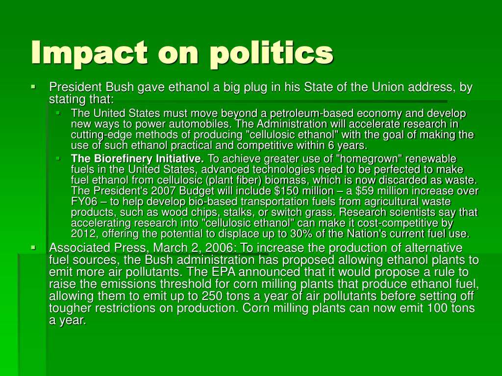 Impact on politics