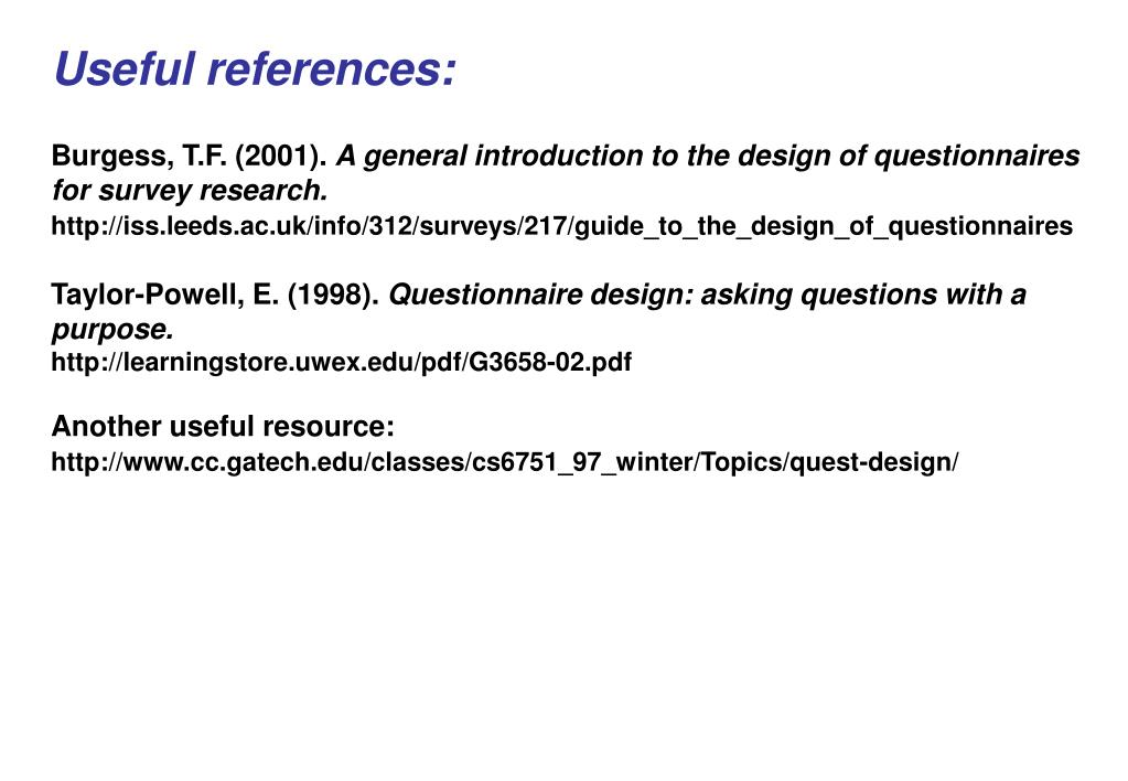 Useful references: