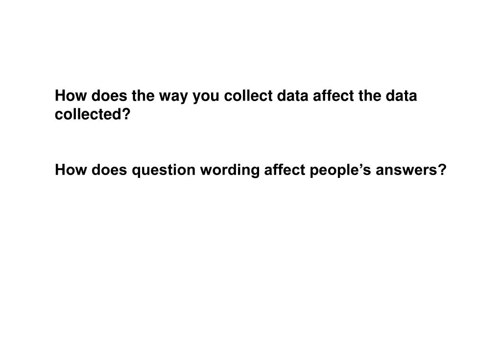 How does the way you collect data affect the data collected?